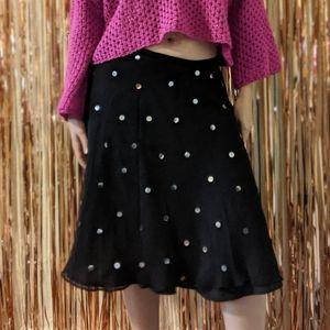 BETSEY JOHNSON black sequins swing skirt